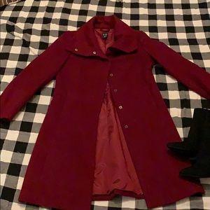 Burgundy gap wool coat